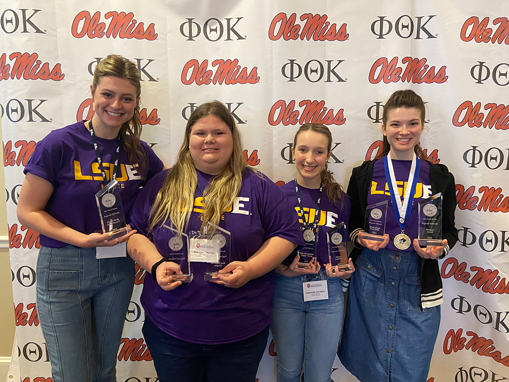 The LSUE delegation to the Phi Theta Kappa regional conference (L to R): Payton Broussard, Kirstyn Jarreau, Gabrielle Devillier and Brooklyn Boardman.