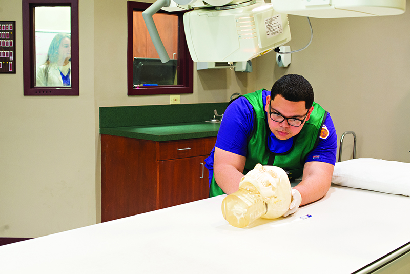 Photo of student aligning model of head for x-ray