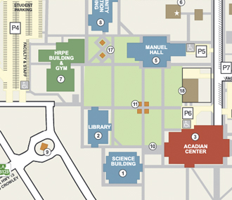 campus map of LSU Eunice