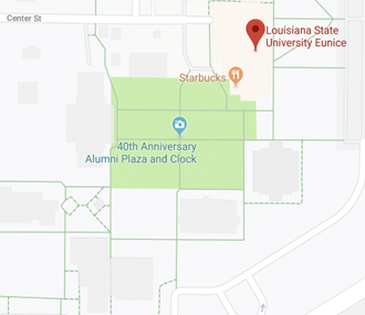 map of LSUE and area from Google Maps